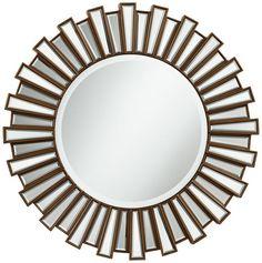 Golden Sunburst Dark Gold Round 30-Inch Wall Mirror - Euro Style Lighting
