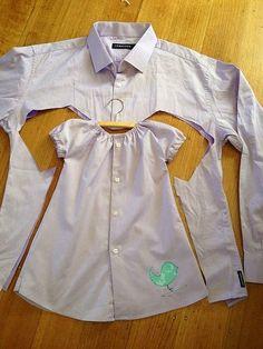 Yakaları atmış, kullanmadığınız bir gömlekten bebeğinize tatlı elbiseler çıkarabilirsiniz.