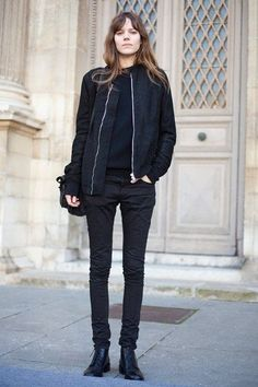Shop this look on Lookastic: http://lookastic.com/women/looks/black-crew-neck-sweater-black-bomber-jacket-black-skinny-jeans-black-boots/8040 — Black Crew-neck Sweater — Black Bomber Jacket — Black Skinny Jeans — Black Leather Boots