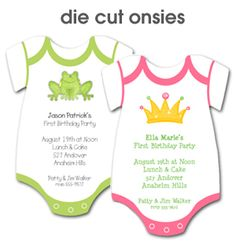 Die Cut Onsies Party Invitations - great for Baby Shower Invitations or Baby's First Birthday Invitations