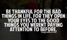 Be thankful for the bad things...