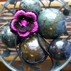 Coffee And Raspberry Flower Headband