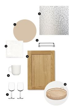M O O D B O A R D - Inspiration from nature - Natural tones with StalaTex patterned stainless steel, pattern Clay   . 1) Wall colour light brown 2) Worktop StalaTex patterned stainless steel - pattern Clay 3) Tiles: White rustic square tile ABL-laatat 4) Kitchen door oak & 5) Handle classic stainless steel, Keittiömaailma 6) Coffee cup & 7) Wine glasses: Raami, Iittala  8) Tray, H&M Home #stalatex  #iittala #ABLlaatat #harrikoskinen #moodboard