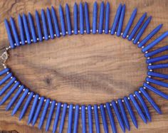 Cobalt blue howlite spike statement necklace.Statement necklace with howlite spikes. Tribal necklace with howlite spikes.