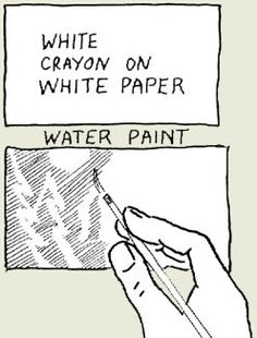 "Draw on white paper with white crayon and paint over with watercolor paints to reveal the ""invisible"" picture."