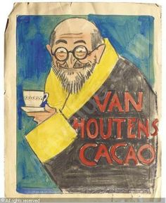 Willy Sluiter - Van Houten's Cacao - a poster design Dutch Painters, Mall, Modern Art, 1940s, Artwork, Poster, Painting, Google Search, Design