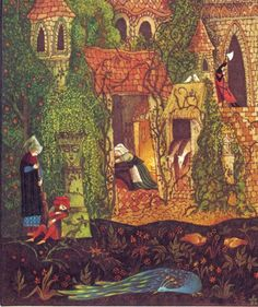 """A detail of an Errol Le Cain illustration from """"The Thorn Rose"""" (aka Sleeping Beauty by the Brothers Grimm)"""