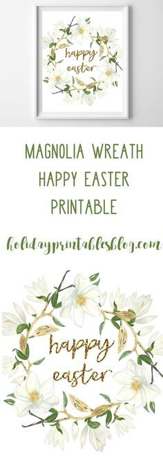 Happy Easter Printable | Easter Free Printables | Gold Glitter | Magnolia Wreath Printable