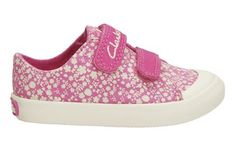 Girls Canvas Shoes - Halcy Pop Fst in Pink Fabric from Clarks shoes