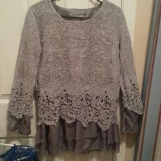NEW GRAY LACED LIGHT TOP Never worn. Size L Tops
