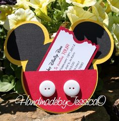 Mickey Mouse Invitation -Mickey Mouse Invites, Mickey Mouse Party, Mickey Mouse Party Invitations, Mickey Mouse (set of 8) on Etsy, $32.00