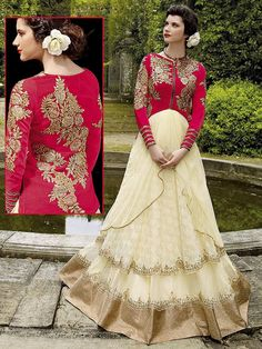 Designer #Gown is garnished with zari, kundan work. Item code: GKDE3508 http://www.bharatplaza.com/new-arrivals/gowns.html