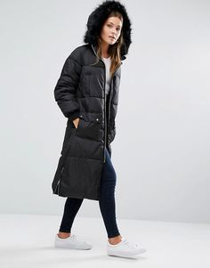 New Look Faux Fur Padded Maxi Coat at ASOS. Coats For Women, Ladies Coats, Clothes For Women, Long Down Coat, Maxi Coat, Street Outfit, New Look, Fashion Online, Faux Fur