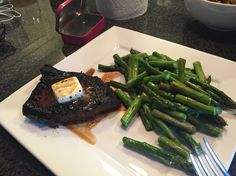 Cast iron steak and butter with baked asparagus//