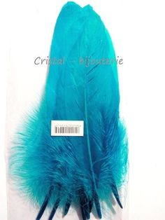 ♥PLU6-01♥ 9 PLUMAS NATURALES TEÑIDAS FEATHER AZUL 18-20 CM♥