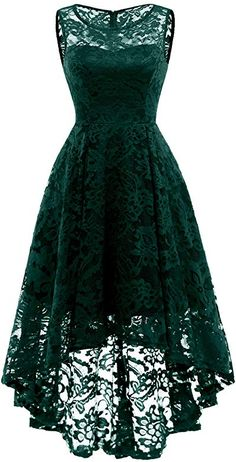 MuaDress Women's Vintage Floral Lace Sleeveless Hi-Lo Cocktail Formal Swing Dress Cute Prom Dresses, Lace Bridesmaid Dresses, Dresses For Teens, Lovely Dresses, Elegant Dresses, Homecoming Dresses, Floral Dresses, High Low Cocktail Dress, Kleidung Design