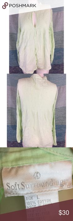 """Soft Surroundings Green 100% Cotton Blouse Shirt Excellent used condition, without flaws. Unique neckline that can be unbuttoned. Very lightweight, 100% cotton. 26"""" length, 46"""" bust. Soft Surroundings Tops Blouses"""