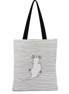 Napping Cat Shopper Bag - Two Stupid Cats  Go for a walk while this cute lazy Cat takes a nap- these laid back stripes will be purrfect for relaxed weekend combinations.  Closure Type:Zipper Number of Handles/Straps:Two Hardness:Soft Main Material:Canvas Shape:Casual Tote Interior:Interior Slot Pocket Size: 40 * 37 cm