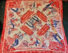 True 1950's Vintage Whimsy Red Square Dancing Pattern Bandanna #Whimsy #Patterned