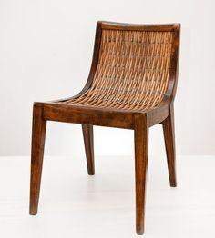Władysław Wołkowski, chair of pure stand wood with wicker weave, before 1952, collections of the Museum of the Work of Władysław Wołkowski in Olkusz, photo: Michał Korta