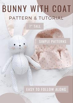 Bunny Crafts, Easter Crafts For Kids, Coat Patterns, Sewing Patterns, Easter Stuff, Bunny Toys, Sewing Toys, Just Giving, Handmade Toys