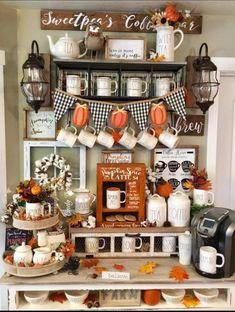 Halloween Home Decor, Fall Home Decor, Autumn Home, Coffee Nook, Coffee Bar Home, Coffee Bars, Thanksgiving Decorations, Seasonal Decor, Holiday Decor