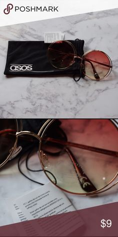 NEW Asos Hippie Glasses Pink/yellow lenses, round glasses, silver frames. Perfect for hippie costume! NEW WITH TAGS. ASOS Accessories Sunglasses