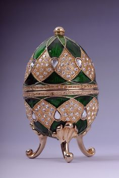 Faberge Easter Egg with egg pedant inside by Keren Kopal Swarovski Crystal