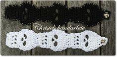 Christels handarbete: Mönster döskallearmband och bokmärke, pdf-pattern Crochet bracelet skull