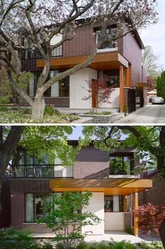 14 Modern Houses Made Of Brick | The bricks used on the exterior of this suburban home give it a timeless look that fits in with the other homes in the neighborhood and will help it age gracefully.