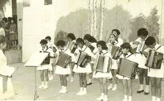 Students of a typical elementary school in Baghdad playing music at opening of Baghdad International Fair in1960s.