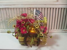 Red poppy country basket with candle by Joan Larson
