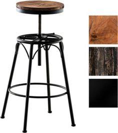 Barhocker BEAM Industrial Look, Materialmix Holz & Metall, rund, höhenverstellbare Sitzhöhe ca. 70 - 90 cm - Plus.de Online Shop