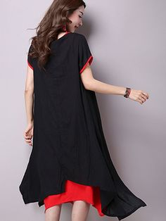 Double-Layer Asymmetric Maxi Dress