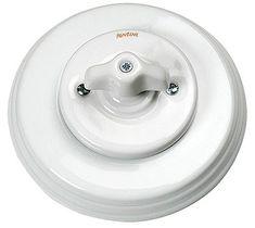 Sähkövalon yleistyessä tarvittiin sähkötarvikkeita. Posliinikatkaisin vääntimellä alkaen 53,50 e, Domus Classica.