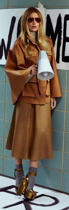 Camel Leather 70's Outfit Idea by Goldschnee-  The bull horn may or may not be the ideal accessory!!!!