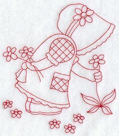 Seasons Sunbonnet Sue - Spring (Redwork)