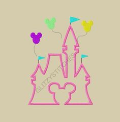 Design Exclusive - Mouse Head Castle Applique Embroidery Design 4X4 5x7 6x10 on Etsy, $3.75