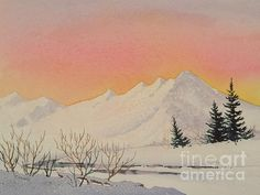 Sunset Over Snowy Mountains. watercolor by Teresa Ascone