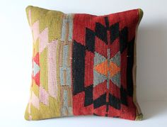 Organic Shine Society Modern Bohemian Throw Pillow. Handwoven Wool Vintage Tribal Anatolian Turkish Kilim Pillow Cover. Red, Green. 16x16