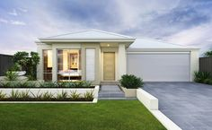The Ascot - Stylish elevation with rendered facade, feature tiled pier and Colorbond roof