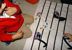 Placer les Doudounotes sur la portée musicale. Le solfège ludique avec Le Tout Petit Conservatoire.