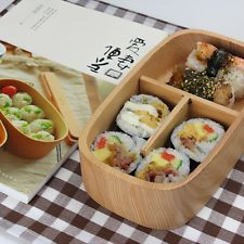 Natural Wood  Bento Lunch Box Food Container Japanese Wooden Sushi Box 1 Tier
