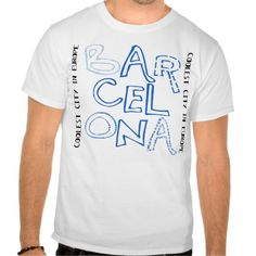 Barcelona is Cool Modernist Blue Tee Shirt #Barcelona #tshirt available on #zazzle  #tee #t-shirt #Catalonia #Spain #zazzleproducts