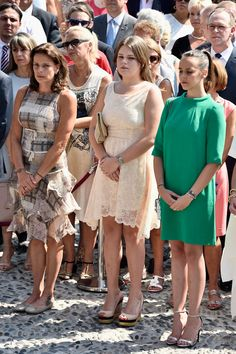 MyRoyals:  Monaco Celebrates the 10th Anniversary of Prince Albert's Accession to the Throne, Day 1, July 11, 2015-Princess Stephanie and her daughters Camille Gottlieb and Pauline Ducruet