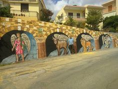 wall painting at Kofinas Chios Chios, Greece, Walls, Doors, Island, Artist, Painting, Greece Country, Artists