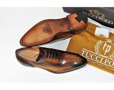 TucciPolo Kesington-TP Handstitched Luxury Mens Handmade Brown Italian Leather Shoe