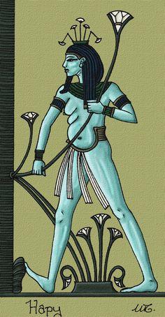 Hapy - Figlio di Horo e Hator. personificazione della piena del Nilo; è il genio della fecondità e del'abbondanza per eccellenza.