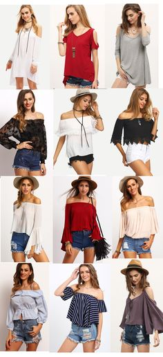 Lol, a big surprise to find these pretty tops! Fashion trendy this summer comes with off he shoulder tops! Cute, chic and fashion design. Fashion And Beauty Tips, Look Fashion, Teen Fashion, Fashion Outfits, Womens Fashion, Fashion Design, Summer Outfits, Casual Outfits, Cute Outfits