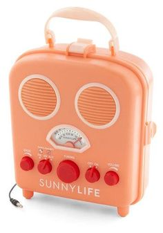 Treat everyone playing beach blanket bingo to a sunny soundtrack with this coral-pink portable radio! #totesadorbs